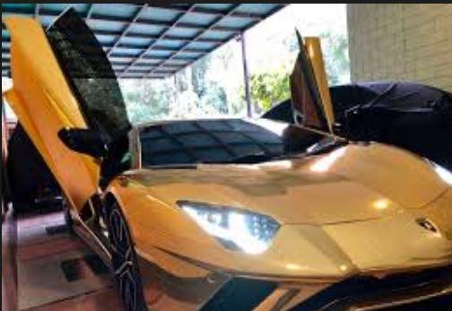 Lamborghini Aventador S Gold car