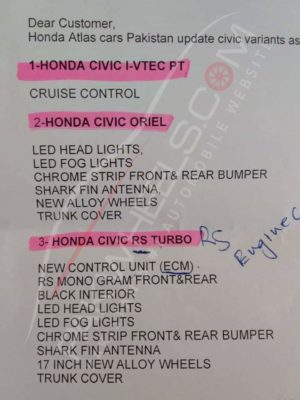 honda civic face lift details