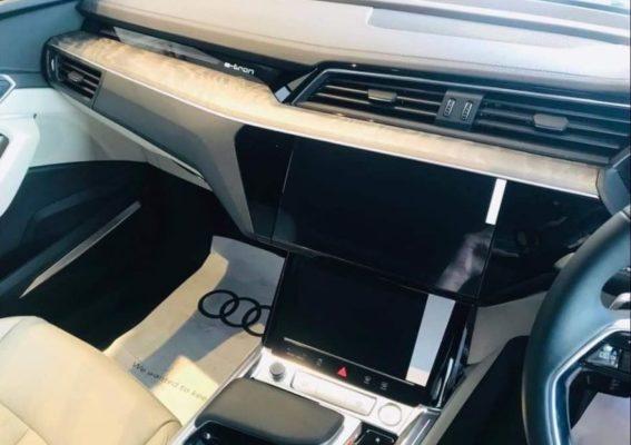2020 All Electric Audi E-tron double infotainment screen View