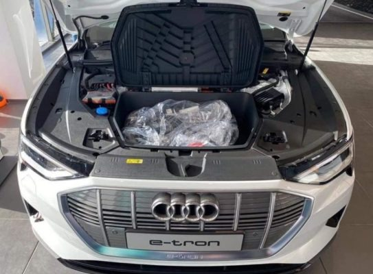 2020 All Electric Audi E-tron front batteries area view
