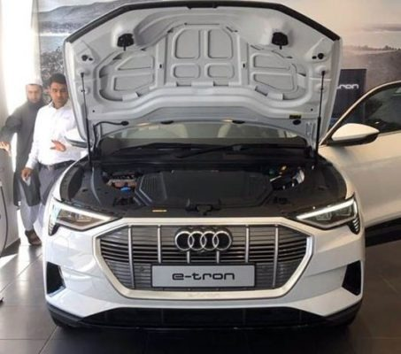 2020 All Electric Audi E-tron front engine area view