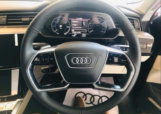 2020 All Electric Audi E-tron steering and information gauge