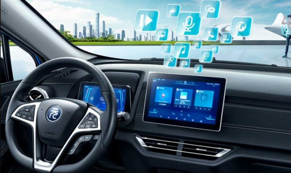 2020 BYD Yuan EV 535 infotainment screen and steering view