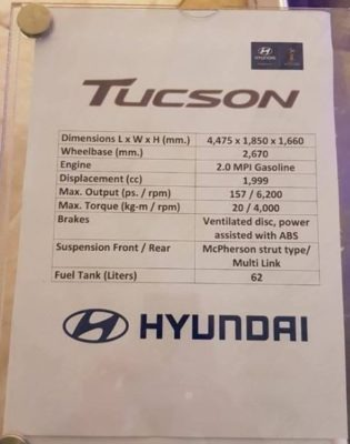 2020 Hyundai Tucson Specifications in Pakistan