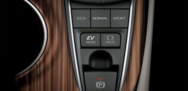 2020 Toyota Camry Hybrid brake hold and driving mode controls