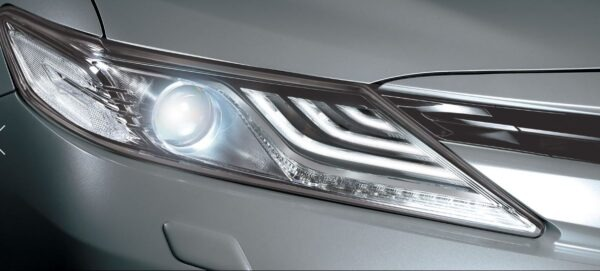 2020 Toyota Camry Hybrid front headlamps close view
