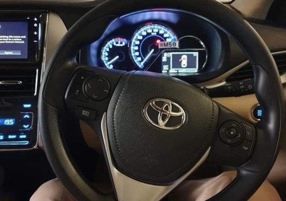 2020 Toyota Yaris information meters & steering view