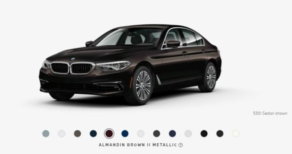 2020 BMW 5 Series available colors