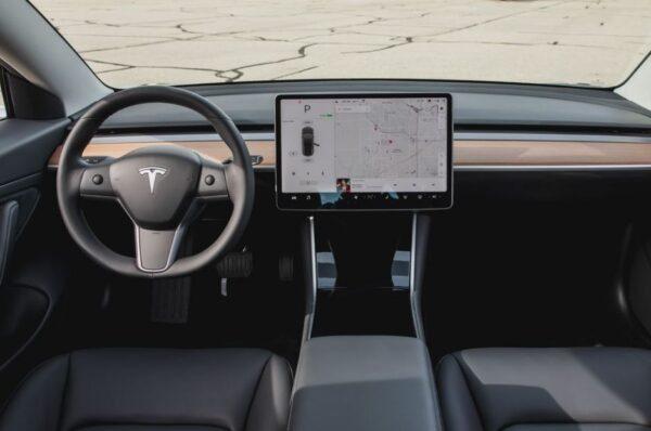 2020 Tesla Model 3 front cabin interior view