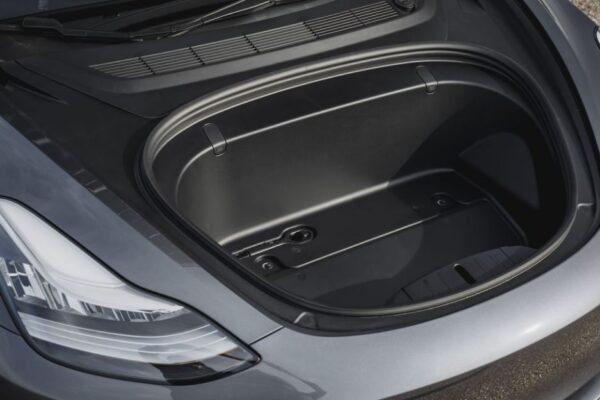 2020 Tesla Model 3 front under the hood area