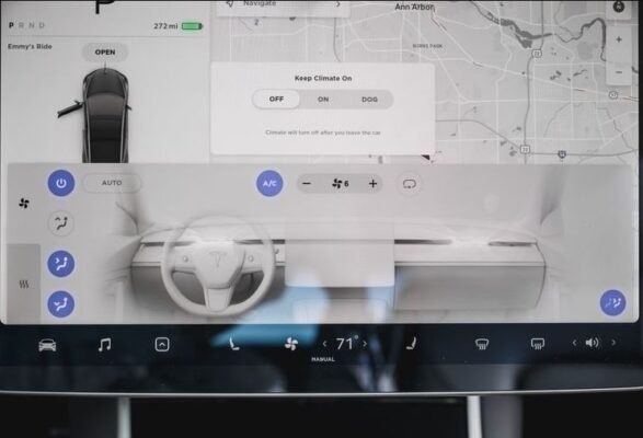 2020 Tesla Model 3 infotainment screen close view