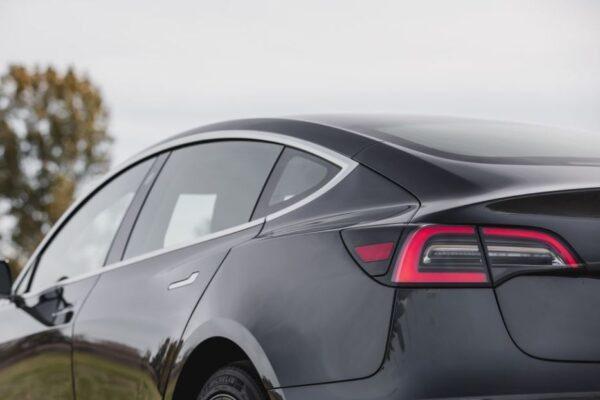 2020 Tesla Model 3 rear tail lights view