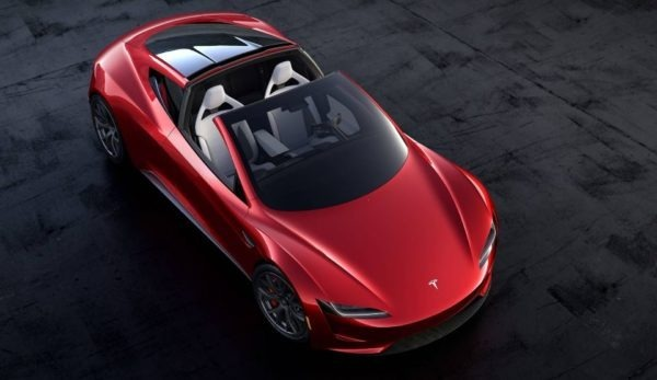 2021 Tesla Roadster upside view with open sunroof