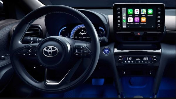 2021 Toyota Yaris Cross infotainment and steering view