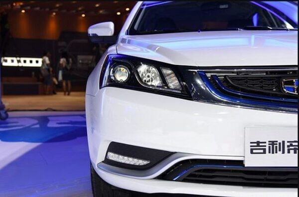 Emgrand EV front headlamps close view
