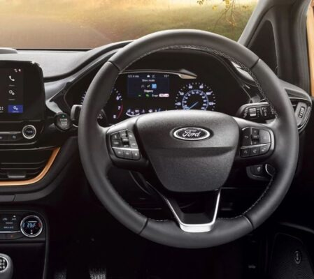 2021 Ford Fiesta orange steering wheel view