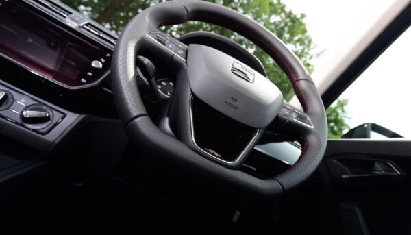 SEAT Ibiza 5th Generation leather wrapped steering wheel