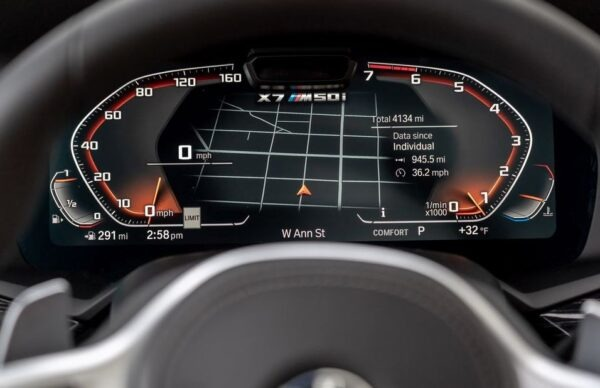 1st Generation BMW X7 SUV information cluster close view
