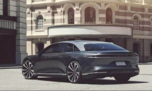 Lucid Air All Electric Vehicle Rear view