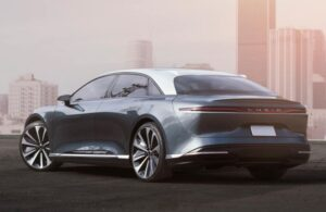 Lucid Air All Electric vehicle Side rear view