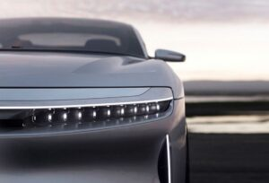 Lucid Air All Electric vehicle front headlamps