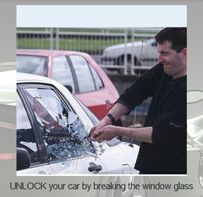 Unlock your car by breaking the window glass