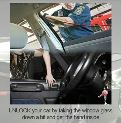 unlock your car by taking the window glass down a bit and get the hand inside