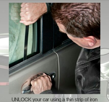 unlock your car using the thin strip of iron