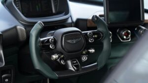 jaw dropping aston martin Victor Super Sport car based one 77 steering view