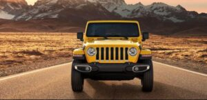 4th Generation Jeep Wrangler front view yellow
