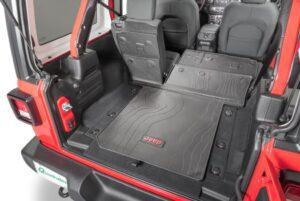 4th Generation Jeep Wrangler rear seats folded view