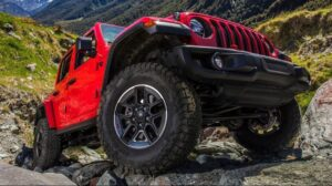 4th Generation Jeep Wrangler tires wheel close view