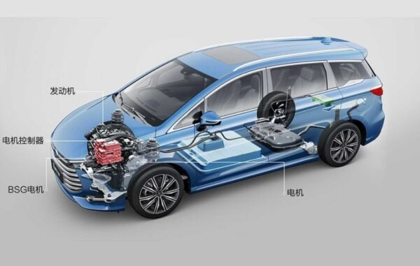 1st Generation BYD Song Max PHEV battery and engine view