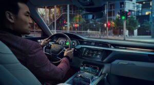 1st generation Audi E tron Electric SUV front cabin interior view