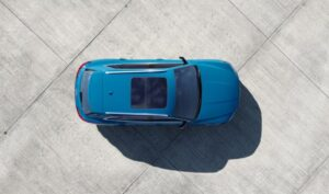 1st generation Audi E tron Electric SUV upside aerial view