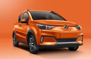 1st Generation BAIC EC3 EV hatchback orange front close view