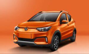 1st Generation BAIC EC3 EV hatchback orange front view