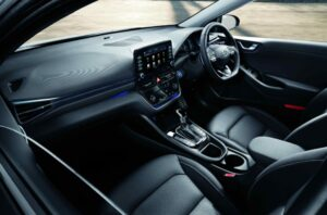 1st Generation Hyundai Ioniq Hybrid sedan front cabin interior view