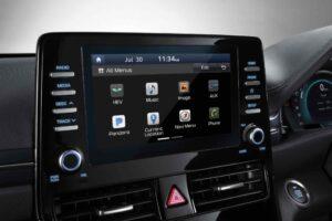 1st Generation Hyundai Ioniq Hybrid sedan infotainment screen view