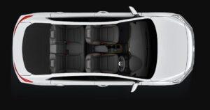 1st Generation Hyundai Ioniq Hybrid sedan upside interior view