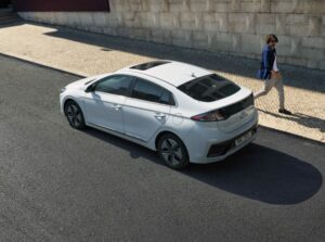 1st Generation Hyundai Ioniq Hybrid sedan upside rear view