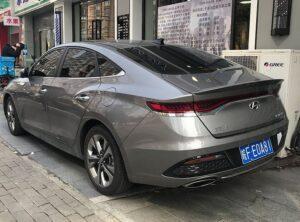 1st generation Hyundai Lafesta EV sedan beautiful rear view