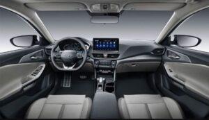 1st generation Hyundai Lafesta EV sedan front cabin interior view