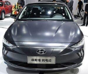 1st generation Hyundai Lafesta EV sedan front close view