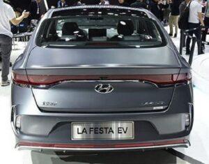 1st generation Hyundai Lafesta EV sedan rear close view