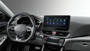 1st generation Hyundai Lafesta EV sedan steering wheel and infotainment screen