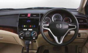 5th Generation Honda City Sedan steering wheel and infotainment screen view