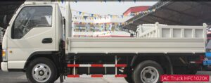 JAC HFC 1020k Medium Pickup truck flat bed side view
