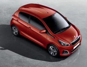 1st generation peugeot 108 hatchback upside full view red color