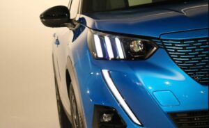 2nd Generation peugeot 2008 SUV front headlamps close view